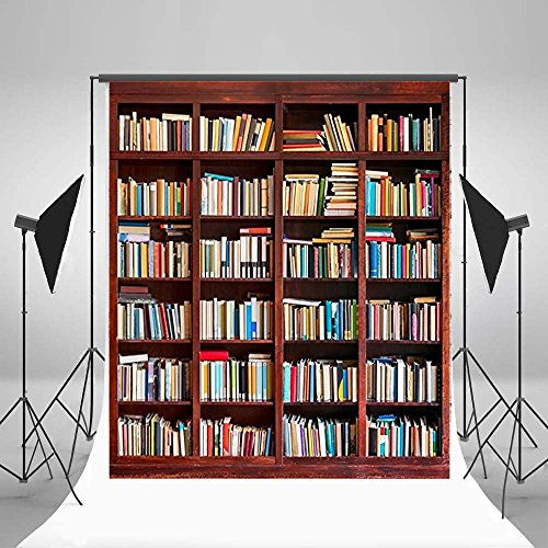 Laeacco 6X6FT Thin Vinyl Photography Background Students Portraits Bookcase Books Backdrops for Studio Prop
