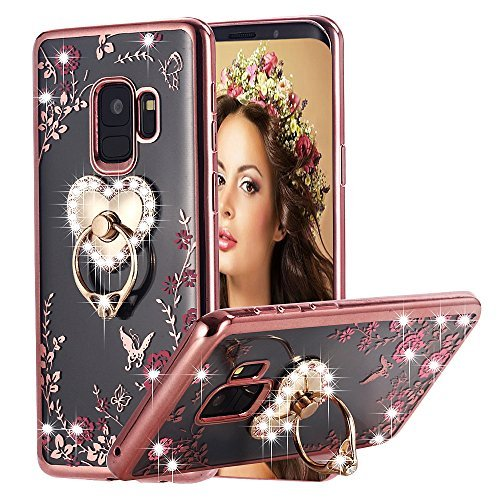 Galaxy S9 Case Pink Ring, Miniko(TM) Soft Slim Bling Rhinestone Floral Crystal TPU Plating Rubber Case Cover with Detachable 360 Diamond Finger Ring Holder Stand for Galaxy S9