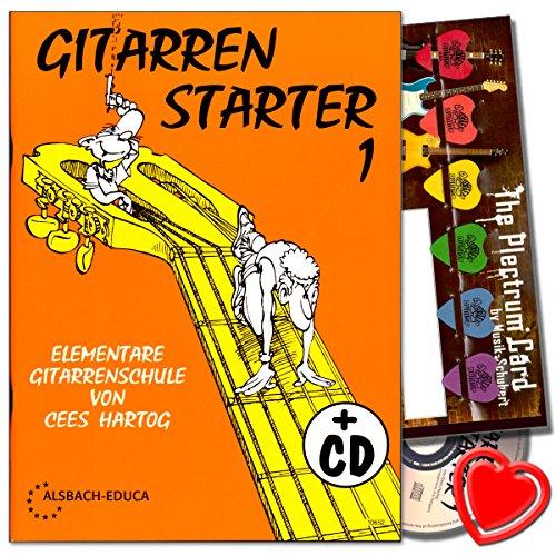 Gitaar Starter 1 - gitaarschool voor beginners van Cees Hartog met CD, plectrum set, hartvormige muziekklem - uitstekend geschikt als cadeau-idee.