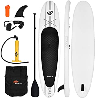 Goplus Inflatable Stand Up Paddle Board 10/11 FT SUP with Leash/Adjustable Paddle/Pump/Repair Kit/Carry Backpack, 6 inch Thickness
