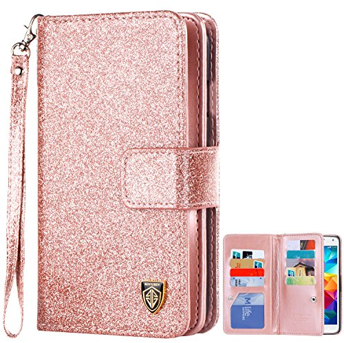 BENTOBEN Case Compatible with Samsung Galaxy S5, Glitter Sparkle Bling Faux Leather Flip Cover Credit Card Holder Cash Pocket Wristlet Protective Wallet Cases Cover for Samsung Galaxy S5, Rose Gold
