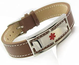 My Identity Doctor - Genuine Leather Medical Alert Bracelet with Engraving