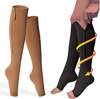 Incredorable Compression Socks, Zippered Stockings 20-30mmHg for Men and Women, Open Toe Hose Support for Ankle, Leg, Fatigue, Edema, Varicose Veins, Lymphedema, Neuropathy Size 3XL