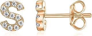 PAVOI 14K Rose Gold Plated Sterling Silver CZ Alphabet Letter Earrings | Initial Earrings for Girls