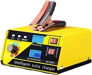 Batteriladdare 12V / 24V Automotive Smart Battery Underhåll för bil, lastbil, motorcykel, gräsklippare (gul)
