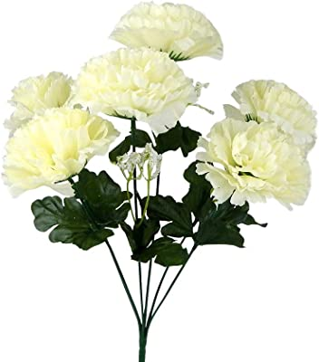 Ella and Lulu Dessign 12 Carnation, Decorating Wedding, Party Anniversary Christmas Mother's Day Home Indoor & Outdoor Window Large Event One Size Bush, Cream