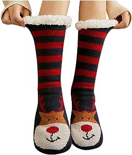 MrTom, MrTom Calcetines de Navidad, Calcetines de Algodón Térmicos Invierno Mujer Calcetines de Estar por Casa Navideños con Patrones de Papá Noel Reno Copo de Nieve y Muñeco de Nieves MT20