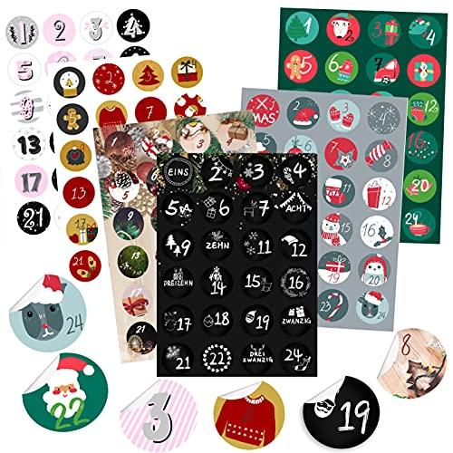 KOHMUI Adventskalender Zahlen Aufkleber, 6 x 24 Adventskalenderzahlen Sticker Set für Weihnachten Kalender zum selber basteln und Verzieren, Adventszahlen Geschenkaufkleber Etiketten selbstklebend