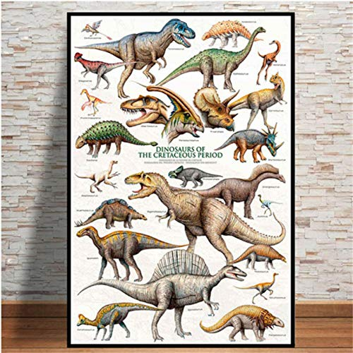 Cuadro evolutivo de dinosaurio, póster de decoración de arte nórdico, pintura en lienzo, decoración del hogar, guardería, decoración de pared para habitación de niños 40x60cm Sin marco (WA-1394)