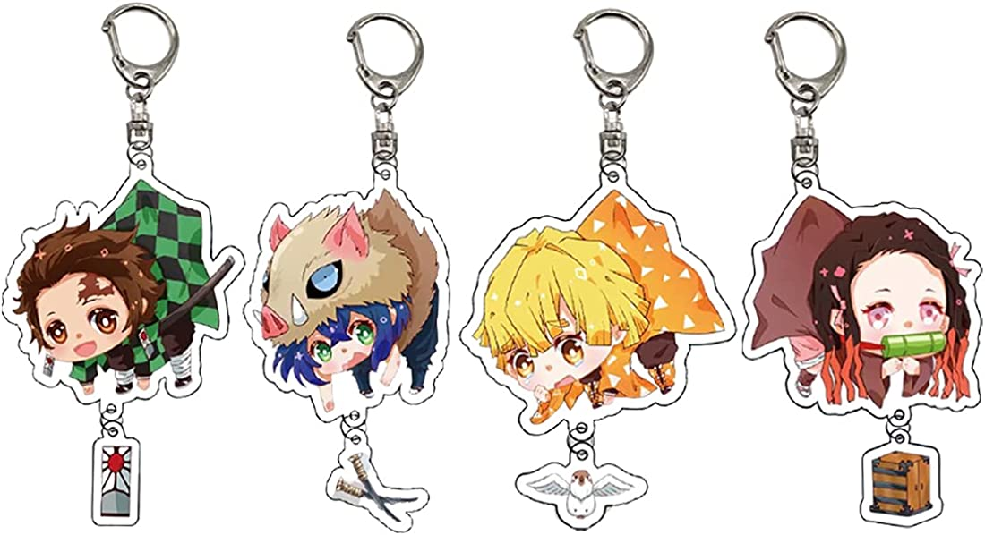 Demon Slayer Keychain Kimetsu no Yaiba Key Rings Set Anime Cosplay Accessories Keyring Cartoon Cute Pendant Ornament