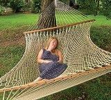 The Garden Hammocks® - Hamaca de cuerda de poliéster cómoda para dormir, doble extra ancha (1,5 m de ancho x 4 m de longitud total) sin soporte, barras de madera FSC, capacidad de peso de 204 kg