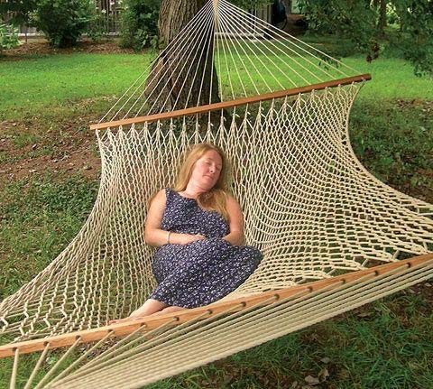 The Garden Hammocks Comfortable Sleeping Polyester Rope Hammock Double Extra Wide(5 ft Wide X 13ft Overall Length) Without Stand, FSC Wood Bars,450 lbs weight capacity