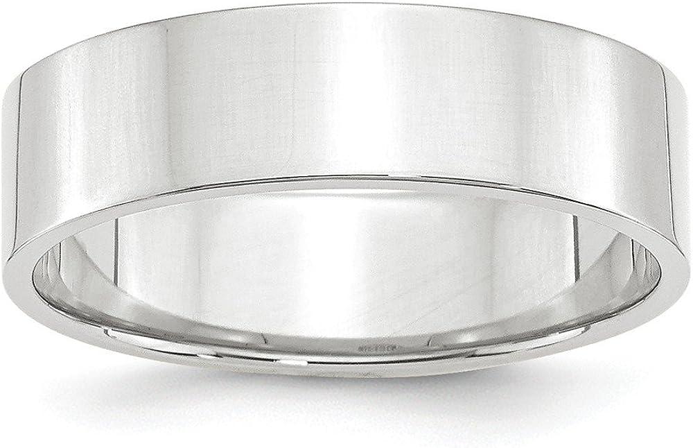 14k White Gold 6mm Flat Plain Classic Wedding Band Ring