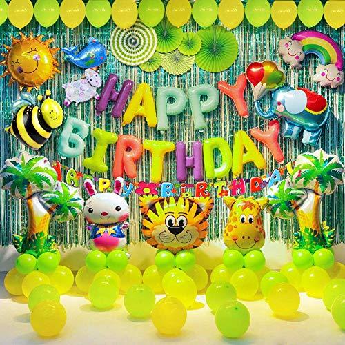 Decoración para cumpleaños infantiles, diseño de animales de la selva, color alegre para cumpleaños infantiles, decoración con globos de látex, animales del bosque para niños y niñas del 1º 3º