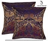 GANESHAM - Federa decorativa in seta indiana con elefante, decorazione etnica, stile bohémien, cuscino per divano e divano, con inserto tradizionale indiano, ricamato a mano