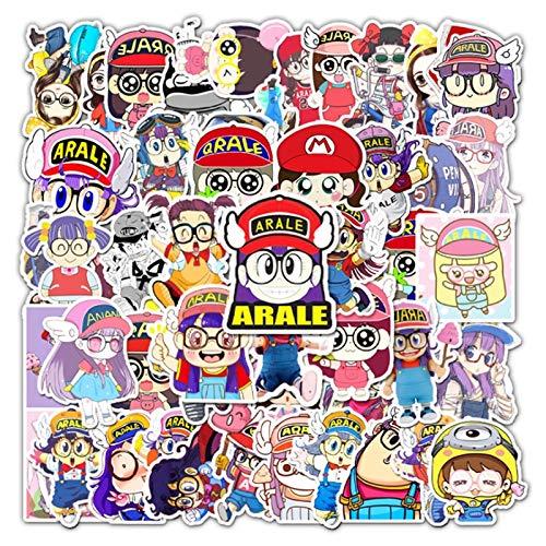 ZXXC 56 Piezas de Dibujos Animados de Anime Arale Graffiti monopatín Impermeable Maleta de Viaje teléfono portátil Equipaje Pegatinas Lindos Juguetes para niñas y niños