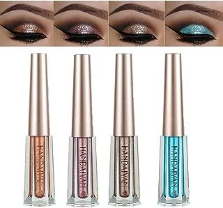 Diamond Liquid Eyeshadow 4 Colors Glitter Shimmer Eyeshadow Deep Stereoscopic Long Lasting Liquid Eyeshadow Set Matte Eye Shadow Sparkling Shimmer Eyes Makeup for Women Girl (4 Color C)