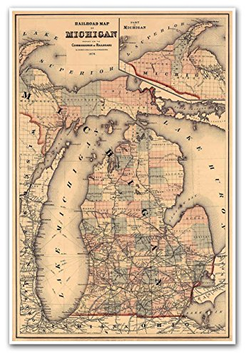 Antiguos Maps - Railroad Map of Michigan by O.W. Gray & Sons circa 1876 - measures 24 in x 36 in (610 mm x 915 mm)