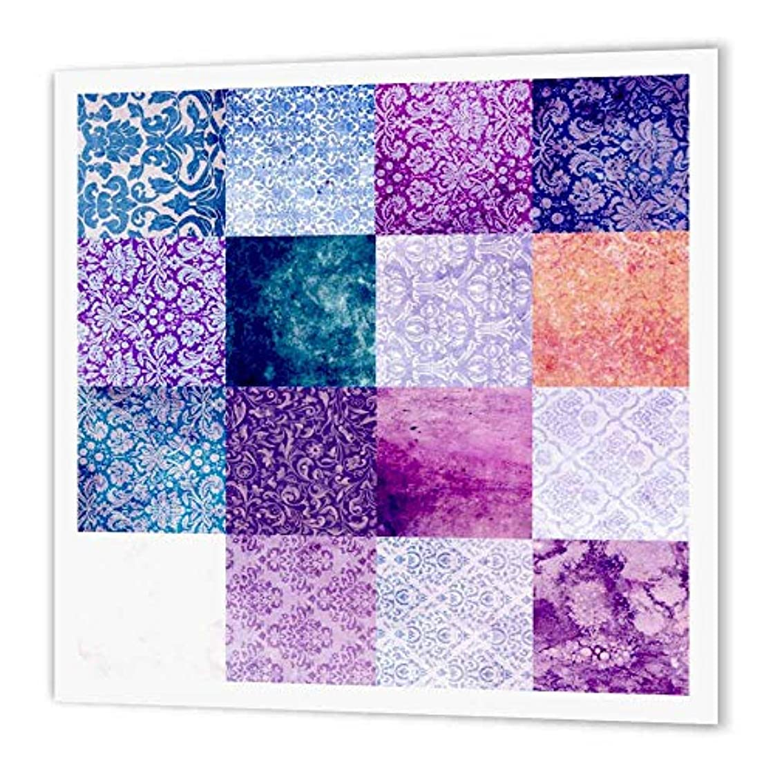 3dRose ht_113194_2 Purple Quilt Squares Grunge Pattern Print Vintage Grungy Damask Patterns Girly Patterned Patches Iron on Heat Transfer Paper for White Material, 6 by 6
