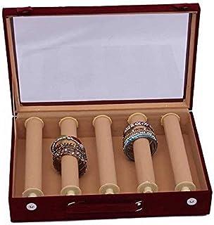 Kuber Industries 5 Rods Rectangular Velvet Wooden Bangle Box Set KI006211, (Multicolor)