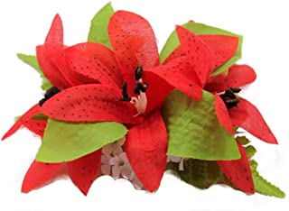 Hawaii Luau Party Dance Tiger Lily Hair Clip in Red Color