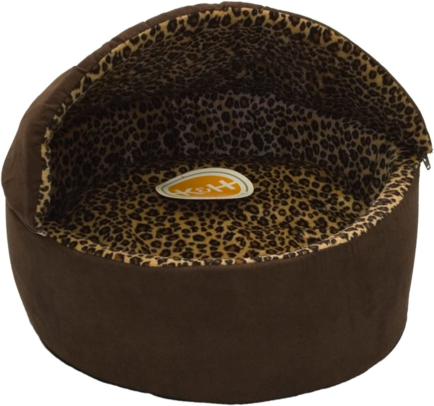 K&H Manufacturing ThermoKitty Deluxe Hooded Cat Bed, Large 20Inch, 4Watts, Mocha Leopard