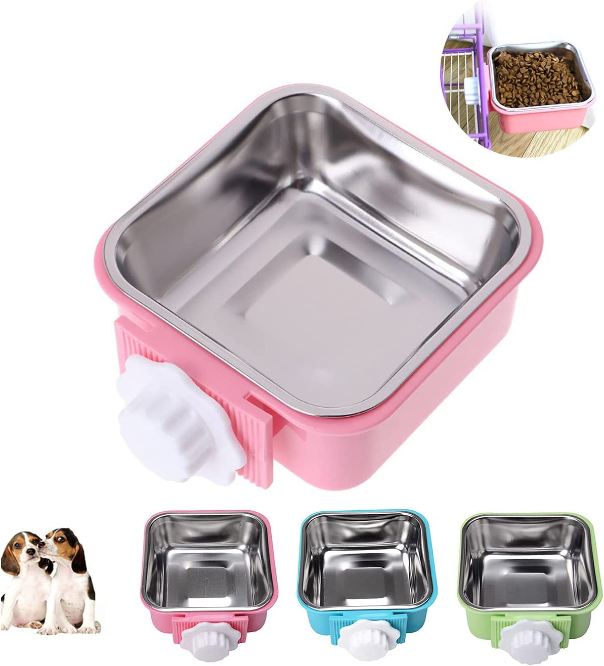 Crate Dog Cat Bowls, Removable Stainless Steel Hanging Pet Cage Bowls Kennel, Food Water Feeder Bowls with Bolt Holder for Puppy Cat Rabbite Birds