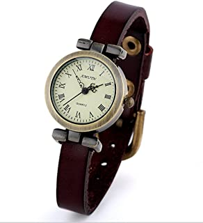 Vintage Faux Leather Strap Alloy Casual Dial Quartz Wrist Watch For Women