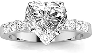 1 Carat Classic Prong Set Diamond Engagement Ring (I Color, VS2-SI1 Clarity Center Stones) - Heart Shape