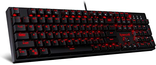 Redragon K582 SURARA Red LED Backlit Mechanical Gaming Keyboard, 104 Standard Keys, Built-in Linear & Quiet Red Switches, ...