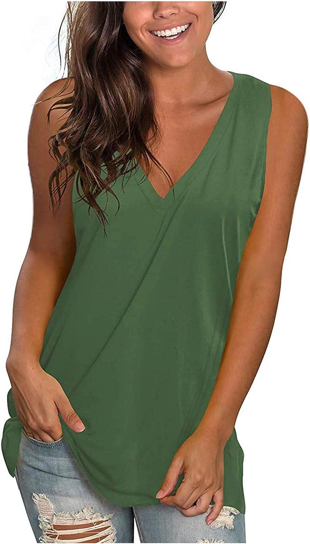 Gradient Color Vest for Women V Neck Tank Tops Summer Casual Sleeveless T Shirts Floral Side Split Tanks Pullover