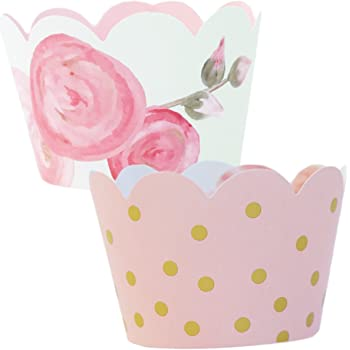 Pink and Gold Party Supplies - 36 Floral Cupcake Wrappers   1st Birthday, Baby Shower Decorations for a Girl, Favor Bag Holder, Reversible, Adjustable Cup Cake Liner Wrap, Vintage Wedding Decor