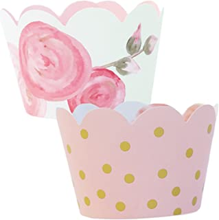 Pink and Gold Party Supplies - 36 Floral Cupcake Wrappers | 1st Birthday, Baby Shower