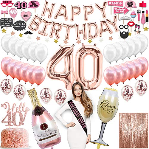 40th Birthday Decorations for Women with Photo Props, 40th Bday Gifts for Women, 40 Birthday Gifts for Women, 40th Anniversary Gifts, Rose Gold Party Supplies, Confetti Balloons 40th Birthday Balloons