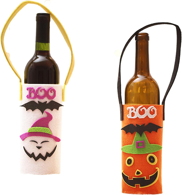 Cosswe Funda para botellas de vino de Halloween, 2 unidades, para la compra, diseño de calabaza de dibujos animados, decoración de Navidad