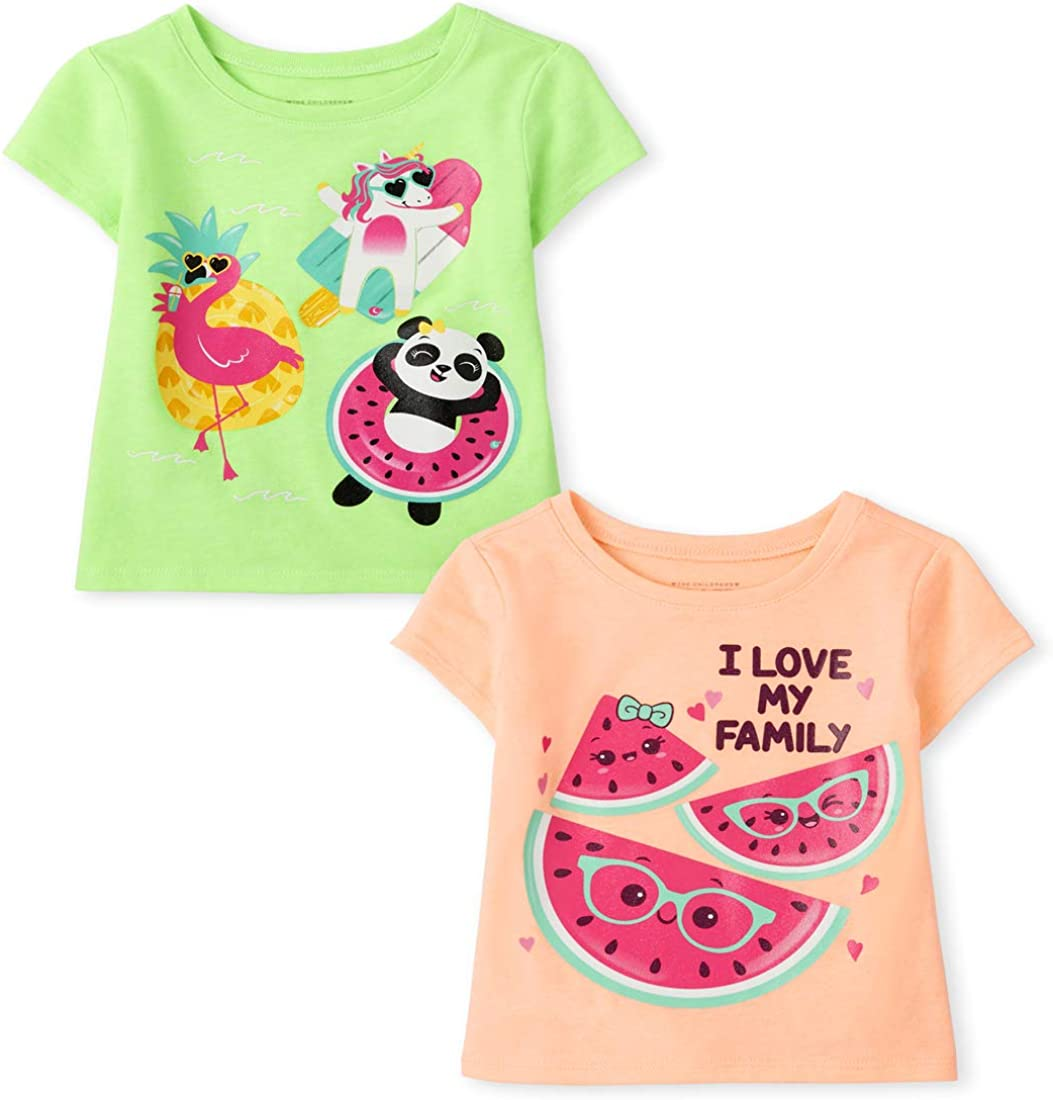 The Children's Place Baby Toddler Girl Short Sleeve Graphic T-Shirt 2-Pack