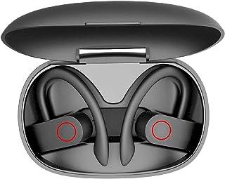 Auriculares elegantes inalámbricos TWS, Bluetooth 5.0 con estuche de carga, Inalámbrico verdadero, IPX7 Auriculares deportivos estéreo impermeables con gancho en la oreja con micrófono, Auriculares con cancelación de ruido