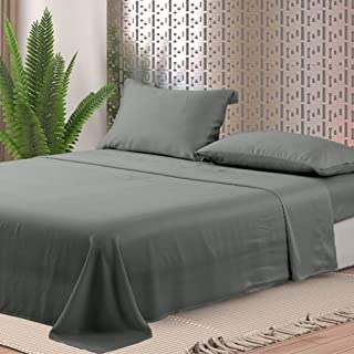 Whitney Home Textile Luxury Tencel Lyocell Sheets, 4 Piece Bed Sheet Set Deep Pocket, 100% Tencel Natural Organic Silky Soft Bedsheets and Pillow Cases King Size Gray