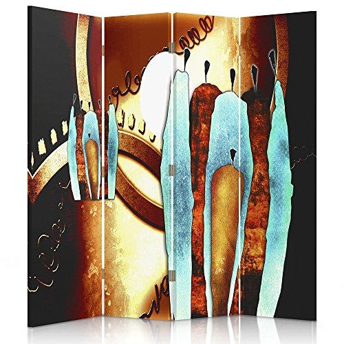 Feeby Frames. Roomdivider, gedrukt op canvas, canvas, wandscherm, decoratieve scheidingswand, paravent aan beide zijden, 3 of 4 stuks, 360° afstrijking, vormgeven, Afrika, wielen, bruin, blauw 2-seitiger 145x150 cm