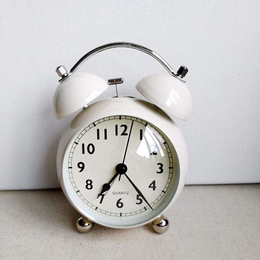 Kids Small Desk Shelf Clock Creative Retro Vintage Table Clock for Children Student Dorm Bedroom Living Room Office Kitchen Indoor Decorations,Beige