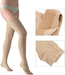 DOTASI 23-32mmhg Compression Thigh High Open-toe Socks Graduated Support Prevent Varicose Veins Stocking Silicone Anti-slip (L) by EagleUS(CA Seller)