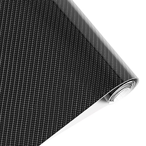 Karlor 5D Carbon Fiber Vinyl Car Wrap Film 5ft x 1ft Interior DIY Bubble Free Air Release High Glossy Black 12 Inch x 60 Inch