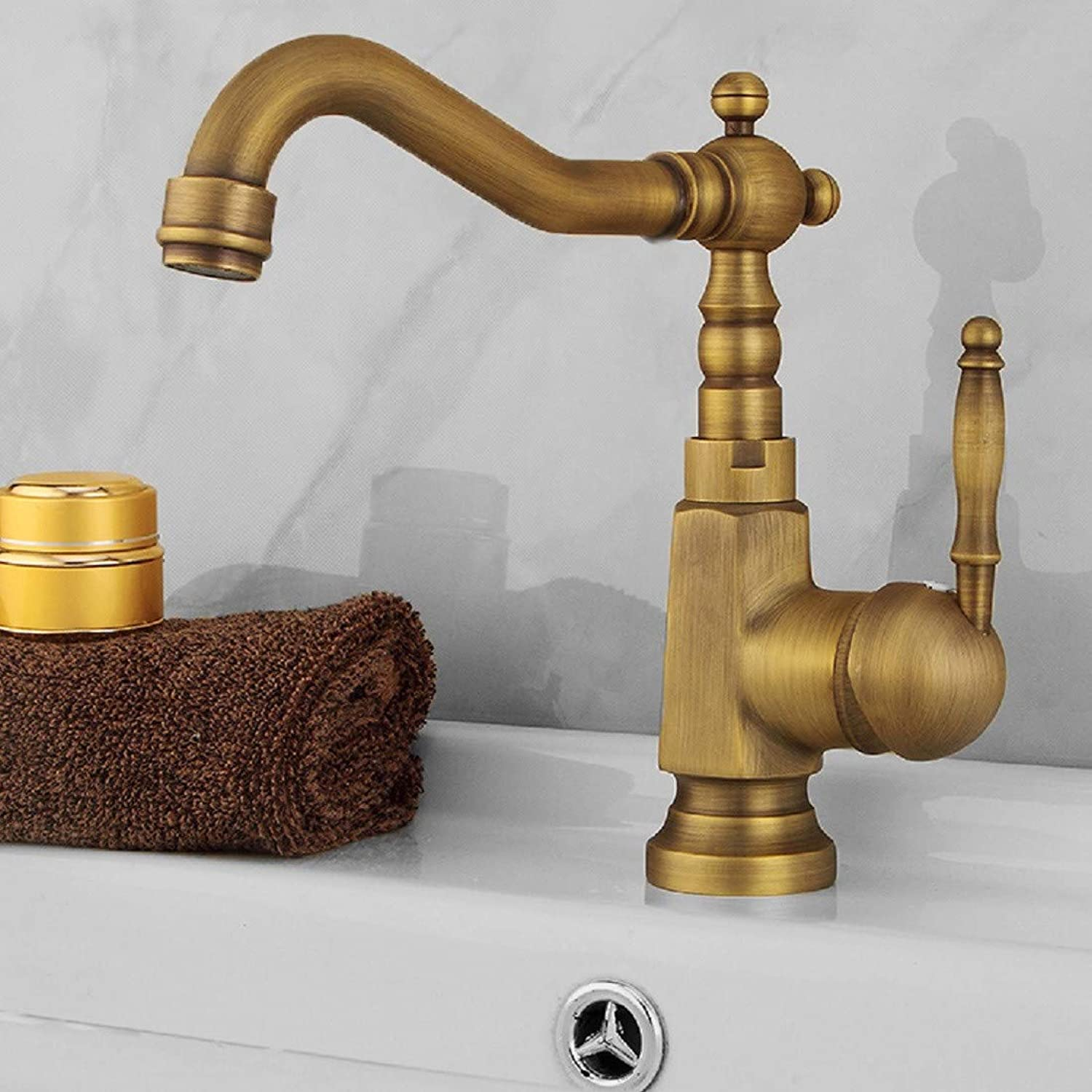 Bathroom Taps European Style Hot and Cold Imitation Antique Tap Pure Copper Casting Single Tap Faucet Bathroom Sink Tap Basin Sink Mixer Tap