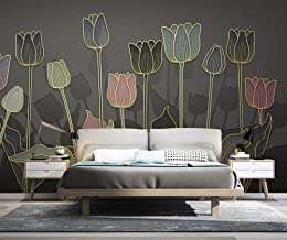 Wall Mural 3D Golden Embossed Line Drawing Tulip Flower Line Drawing Custom Wallpaper 3D Effect Large Mural Wall Murals Home Decor