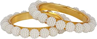Fashion Jewelry Indian Bollywood 14 K Gold Plated Faux Pearl Beaded Bracelets Bridal Bangle Set for Women