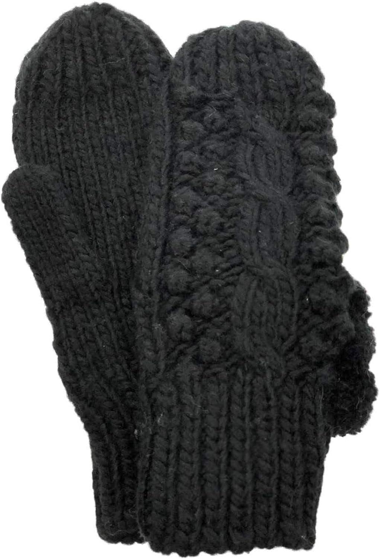 Womens Lumpy Black Knit Pom Pom Winter Mittens