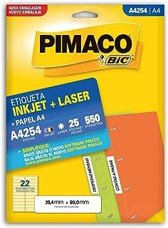 Etiqueta ink-jet/laser A4 25, 4x99, 0 254 Pimaco, BIC, 874996, Branca, pacote de 25