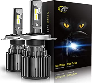 Cougar Motor H4 LED Headlight Bulbs, 9003 High/Low All-in-One Conversion Kit, 10000 Lumen (6000K Cool White) - Adjustable Beam Pattern