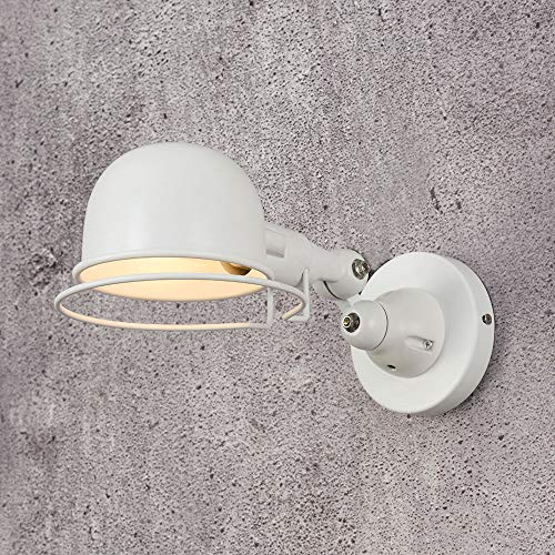 Aplique e14 Brazo mecánico Francia Jielde Lámpara de pared Reminisce Retráctil Doble Vintage Varilla plegable Sin brillo de interruptor, Blanco