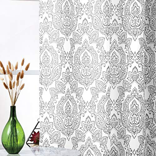 Fmfunctex White Grey Curtains for Living Room 84 Inch Long Damask Print Curtains Classic Floral Pattern Window Curtain Panels for Bedroom with Total Privacy Grommet Top 2 Pcs